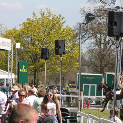 An example of the profound EV speakers used in the main arena at Badminton Horse Trials.